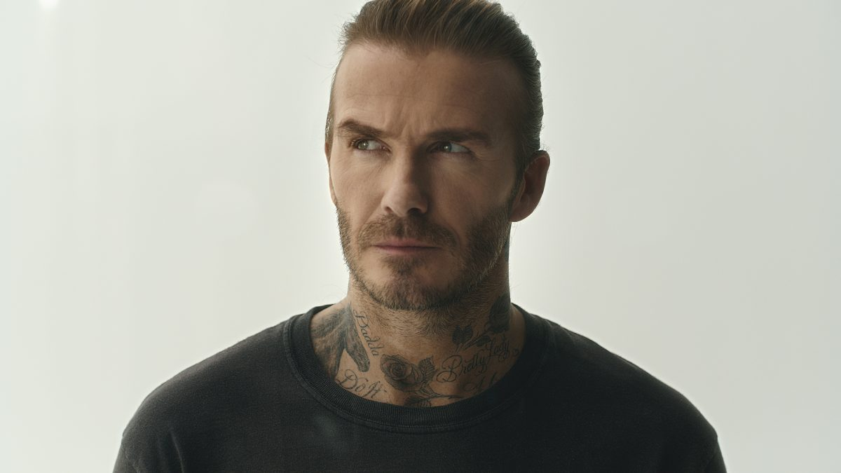 David Beckham in a black t-shirt